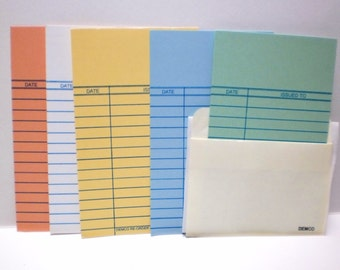 Library Date Due Cards 30-100 Book Pockets Cards Wedding Invitations Baby Showers Parties Scrapbook Scrap Junk Journals Colored Book Slips