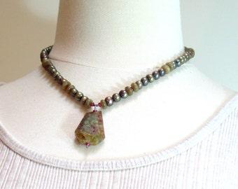 Green Garnet Druzy Pendant on Pearl Choker Necklace