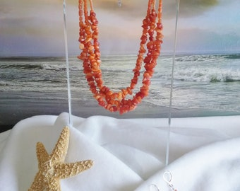 ORANGE NECKLACE MULTISTRAND With Earrings