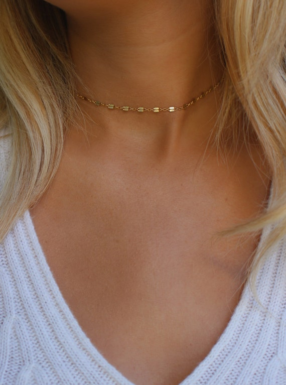 Dainty Chain Choker Necklace Simple Gold Choker Necklace