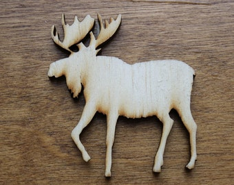 Moose Sign Wooden Cutouts - Shapes for Projects or Other Use
