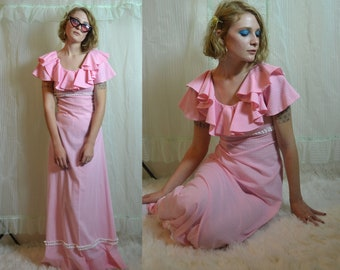 60s 70s pastel pink plaid gingham ruffle sleeve hippy maxi dress