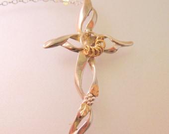 12K & Sterling Silver Cross Pendant Necklace Vintage Jewelry Vintage Necklace