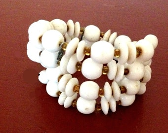 Mid Century 1950's Milk Glass Bracelet, Wire Wrap Milkglass Cuff Bracelet, Two Strands White Glass, Yellow Spacer Seed Beads, VisionsOfOlde