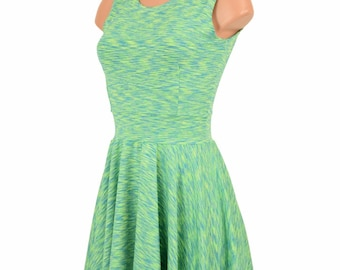 Midori Soft Knit Fit and Flare Sleeveless Crew Neck Skater Dress Green Comfort - 155257
