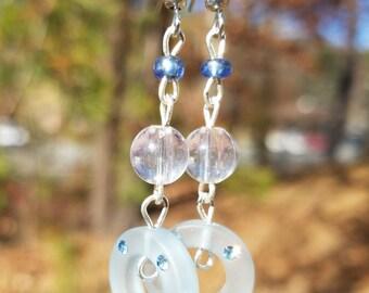 Light Blue Crystal Hoop Earrings