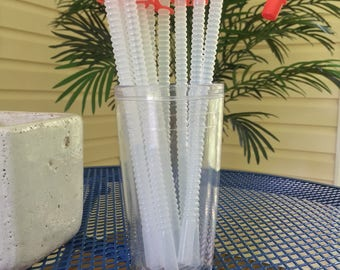 """Set of 10 Red Straw Caps with 9"""" Flexible Straws"""