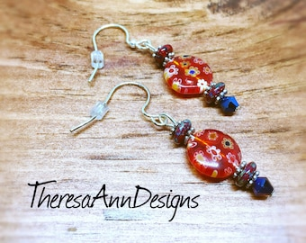 Millefiori Earrings, Glass Earrings, Red  Earrings, Flower Earrings, Dangle Earrings, Flower Jewelry, Gift for Her