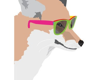 Fox Nursery art print - Hipster Fox - Colorful art print, Woodland Nursery Art, Woodland fox Art, Kids Wall Art, Hipster fox art print,