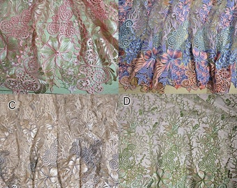 0.9X1.3 meter wide pink/green mesh dress fabric lace embroidered veil cloth clothing D24E85P0321T free ship