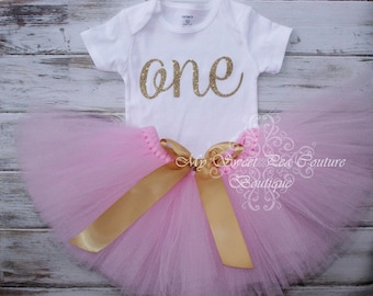 Gold & Pink First Birthday Tutu Outfit- Cake Smash Outfit- 1st Birthday Outfit- Glitter Birthday- First Birthday Outfit- One- Baby Tutu