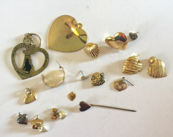 Destash  Craft Lot of Vintage and Salvaged Heart Pendants  Charms and Jewelry Pieces