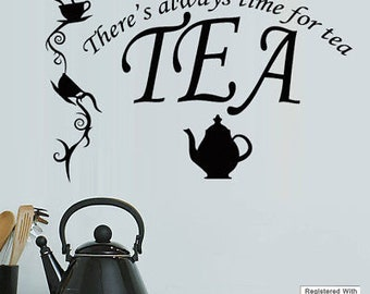 Tea Time Quote Teapot Cup Caf