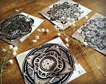 Tiny Mandala on Wine Stained Paper - Small Art - Intuitive Abstract Mandala Artwork - Ink and Wine