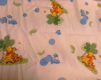 Fabric white blue green trees bear tiger Vinnie the pooh Cotton Fabric Kids Fabric Nursery room Decor Children Design Scandinavian Textile