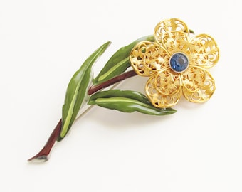 Large Blue Rhinestone Enameled Filigree Flower Brooch 1940s 3 1/2 inches