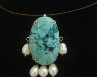 Turquoise Fresh Water Pearl Sterling Silver Handmade Pendant Enhancer