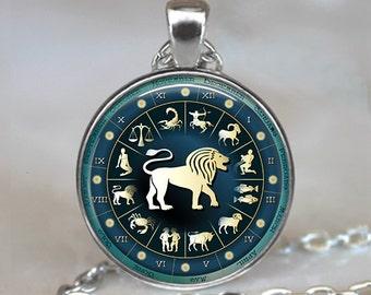 Blue Wheel Zodiac Leo necklace, Leo jewelry Zodiac jewelry Leo pendant Leo birthday gift astrology necklace, key chain key ring key fob