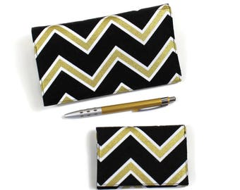 NEW! RFID Lined Card Case with Checkbook Cover for Duplicate Checks with Pen Holder, Black and Gold Chevrons Cotton Fabric, Two piece set