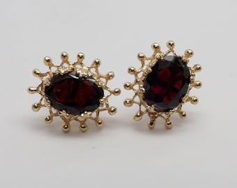Stunning Pair of 14K Yellow Gold Faceted Garnet Pierced Earrings with a Deep Rich Color TW 2 carats