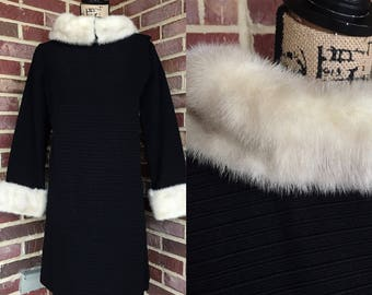 1960s black mod coat with blonde mink fur collar and cuffs / 60s mod mid century wool coat