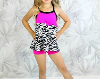 Fuchsia / Black & White Zebra Babydoll set