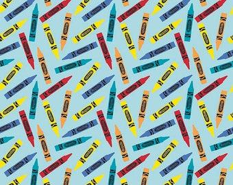 "Crayola Crayons on Blue, FLANNEL,  by Riley Blake, By the Half Yard, 42"" wide, flannel fabric, crayon fabric, school fabric, teacher fabric"