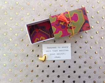 Excite Your Spirit Message Box with fabric gift bag (Rumi quote)