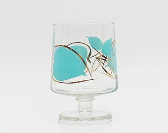 Turquoise and Gold Painted Glassware - Vintage 1960s Short Stem Hurricane Candle Holder - Retro Home Decor