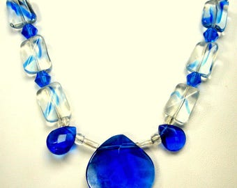 Royal BLUE and Clear Glass Bead Necklace, 1990s,  OOAK By Rachelle Starr