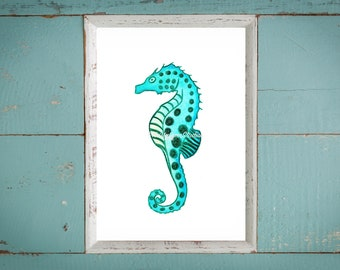 SEAHORSE WATERCOLOR- spotted turquoise seahorse watercolor print, seahorse art print, seahorse ocean nursery wall art, office wall art print