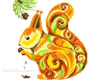 cross stitch pattern Squirrel / MedvedSamorodok cross stitch pattern 1/ cross stitch pattern animal