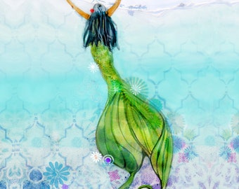 HAWAIIAN MERMAID, Wall Art, Mermaid Print, Home Decor,  Fine Art Print, Ocean, Sea Nymph, Mermaid, Coastal Home Wall Art, Beach Art, Beach