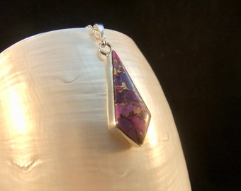 Purple Turquoise Gemstone Silver Sterling Necklace