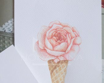 "Printed copy of my ""Ice cream flower"" illustration."