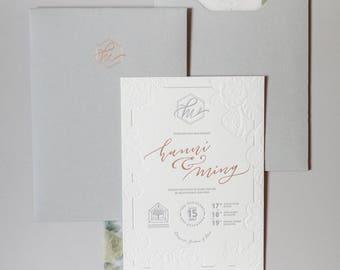 Letterpress Wedding Invitation - Grey letterpress, Gold foil. Blind Letterpress, Printed Folder