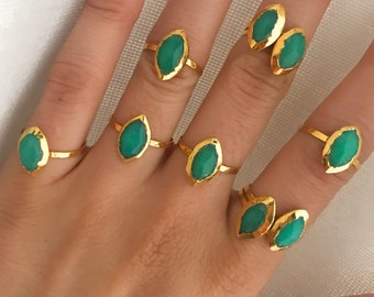 Chrysoprase Gold Ring // Chrysoprase Ring // Green Chrysoprase Ring