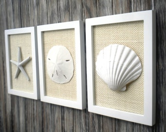 Cottage Chic Set of Beach Wall Art, Sea Shells Home Decor, Nautical Decor, Beach Decor, Bathroom Wall Decor, WHITE With IVORY Burlap