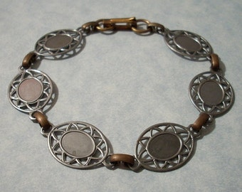 Vintage Thin Steel Bracelet Blank with Six Oval Filigree 8 x 10mm Cabochon Settings