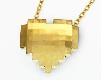 Video Game Heart Pendant in Brass, Pixel heart pendant, 8-bit heart necklace, retro videogame heart necklace, gamer jewelry