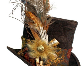 Tall Brown Top Hat Woodland Sage Victorian Dapper Cosplay Mens Womens Witch Warlock