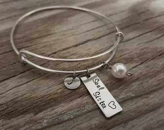 Soul Sister Bangle - Soul Sister Gift - Soul Sister Jewelry - Best Friend Gift - BFF Gift - My Other Half - I/B