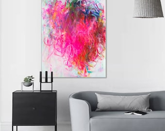 Pink painting Floral art Pink purple art Abstract pink Large floral art flower painting Pink purple painting on canvas Modern wall art