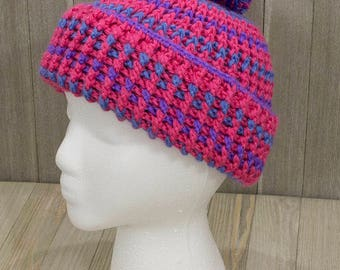 Ribbed Pompom Hat