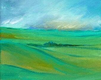 Green Hills Original Acrylic Painting