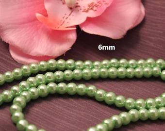 Set of 50 6mm Green - creating jewelry - pearls