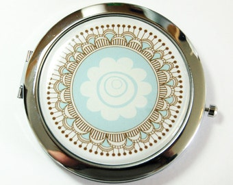 Flower compact mirror, mirror, purse mirror, compact, Pocket mirror, floral mirror, Flower Mirror, blue  (2484)