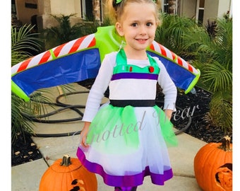 Buzz Dress: green white purple black, lightyear tutu dress, Toy Story Birthday Party, meet and greet, halloween costume