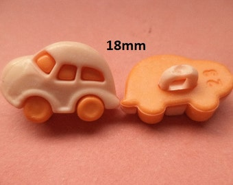 6 children's Buttons orange 18 mm x 13 mm (3328) buttons button car