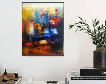 "Abstract painting oil on stretched canvas bright Bold and striking original art work by Toronto assist Katya Trischuk canvas size 16""x20"""